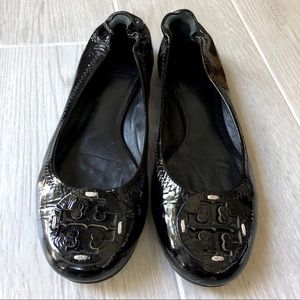 Tory Burch Reva flats black patent leather